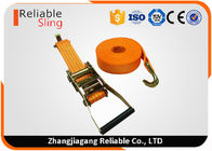 4T Polyester Orange Double J Hook Ratchet Straps / Heavy Duty Cargo Straps