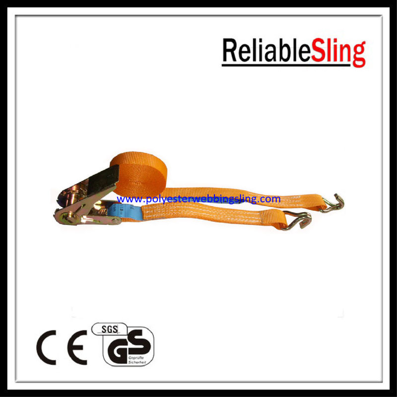 Reliable Orange Double J hook ratchet straps for 500KG steel pipe lashing