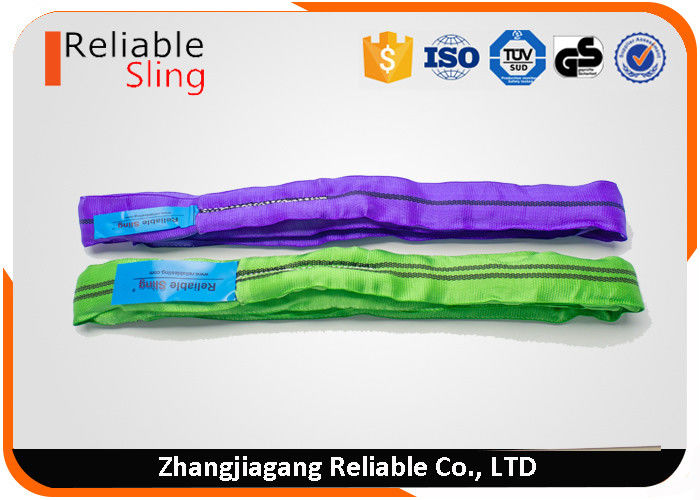 Printed Green Polyester Round Slings / Webbing Slings Free Sample Available